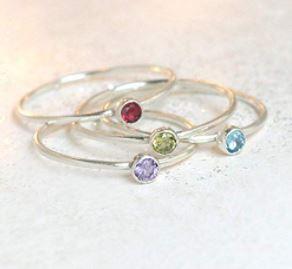 stackable birthstone rings: Birthstone ring. ONE stackable birthstone gemstone ring