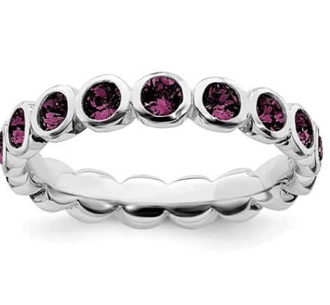 Stackable Birthstone Rings: 925 Sterling Silver June Swarovski Band Ring Stackable Birthstone Gemstone