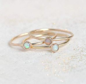 Stackable Birthstone Rings: Opal ring. Birthstone ring. Stackable gold ring