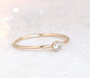 Stackable Birthstone Rings: Gold diamond ring. ONE stackable birthstone gemstone ring