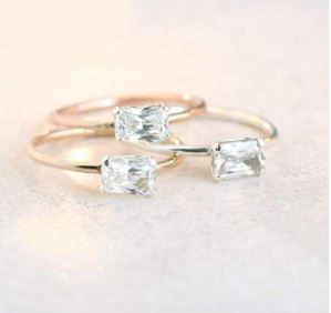 Stackable Birthstone Rings: Diamond ring. cz stacking ring with April birthstone