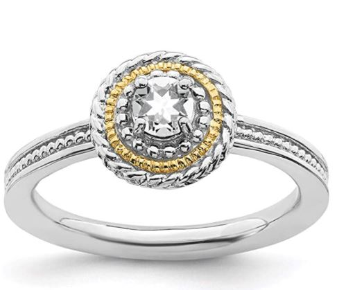 Stackable Birthstone Rings: 925 Sterling Silver 14k White Topaz Band Ring Stackable Gemstone Birthstone