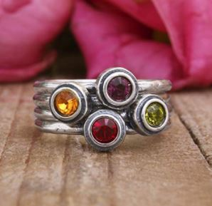 Stackable Birthstone Rings: Stacking Sterling Silver Birthstone Ring