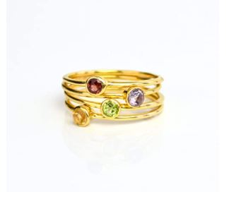 Stackable Birthstone Rings: Tiny Stacking Rings in All Birthstones