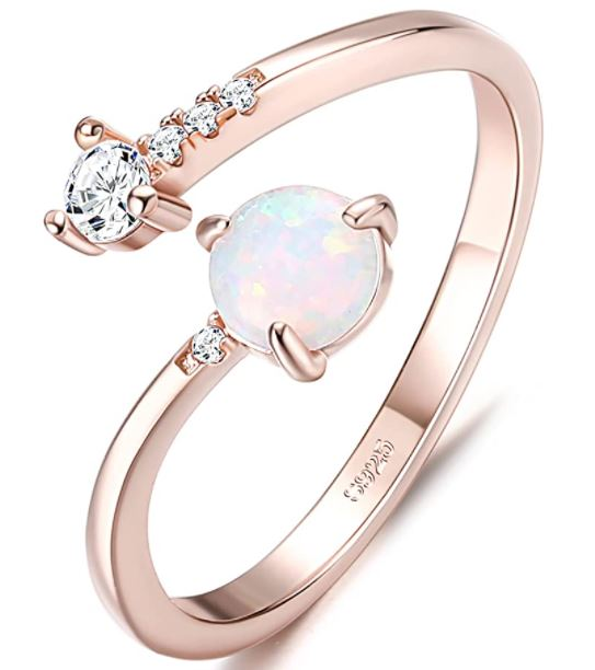 Stackable Birthstone Rings: Milacolato 925 Sterling Silver Opal Rings